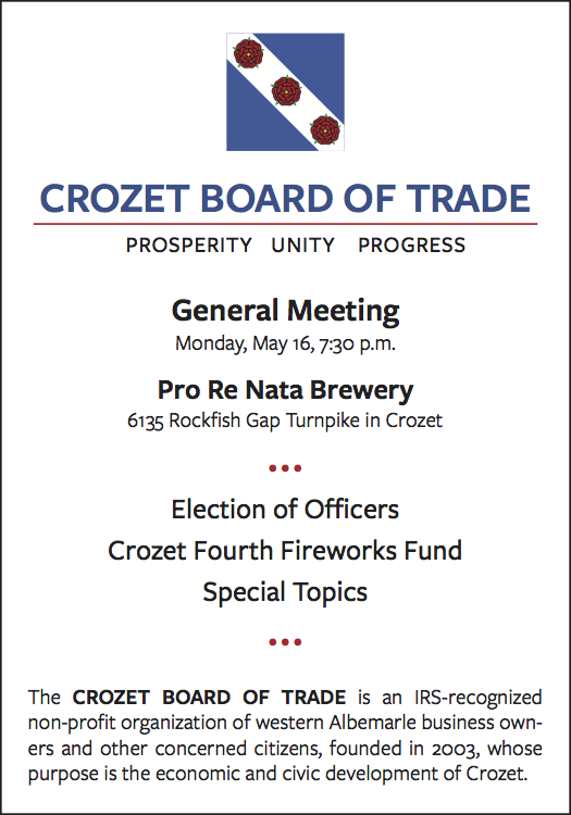 Crozet Board of Trade Meeting 2016 May 16 at 7:30