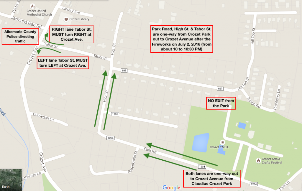 Map of special one-way traffic from Crozet Park to Crozet Avenue, July 2, 2016