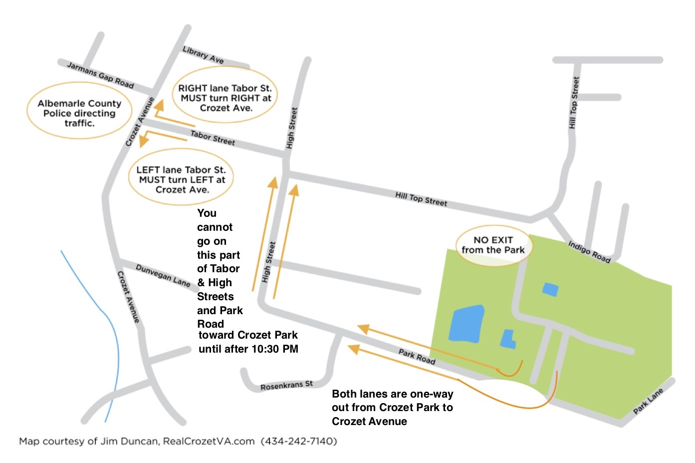 Map of the one-way exit from Crozet Park after the Independence Day Fireworks