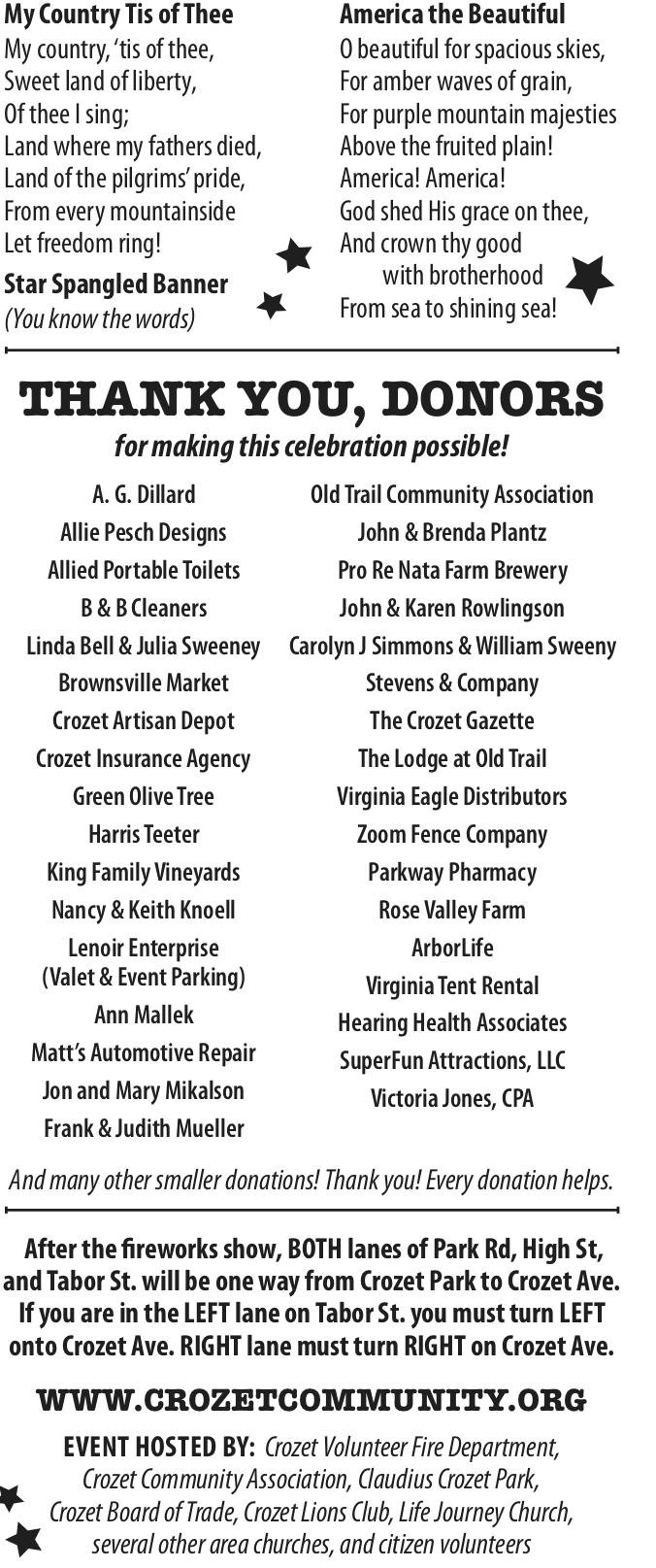 Donors to the Crozet Independence Day Fireworks Celebration at Crozet Park June 29, 2019