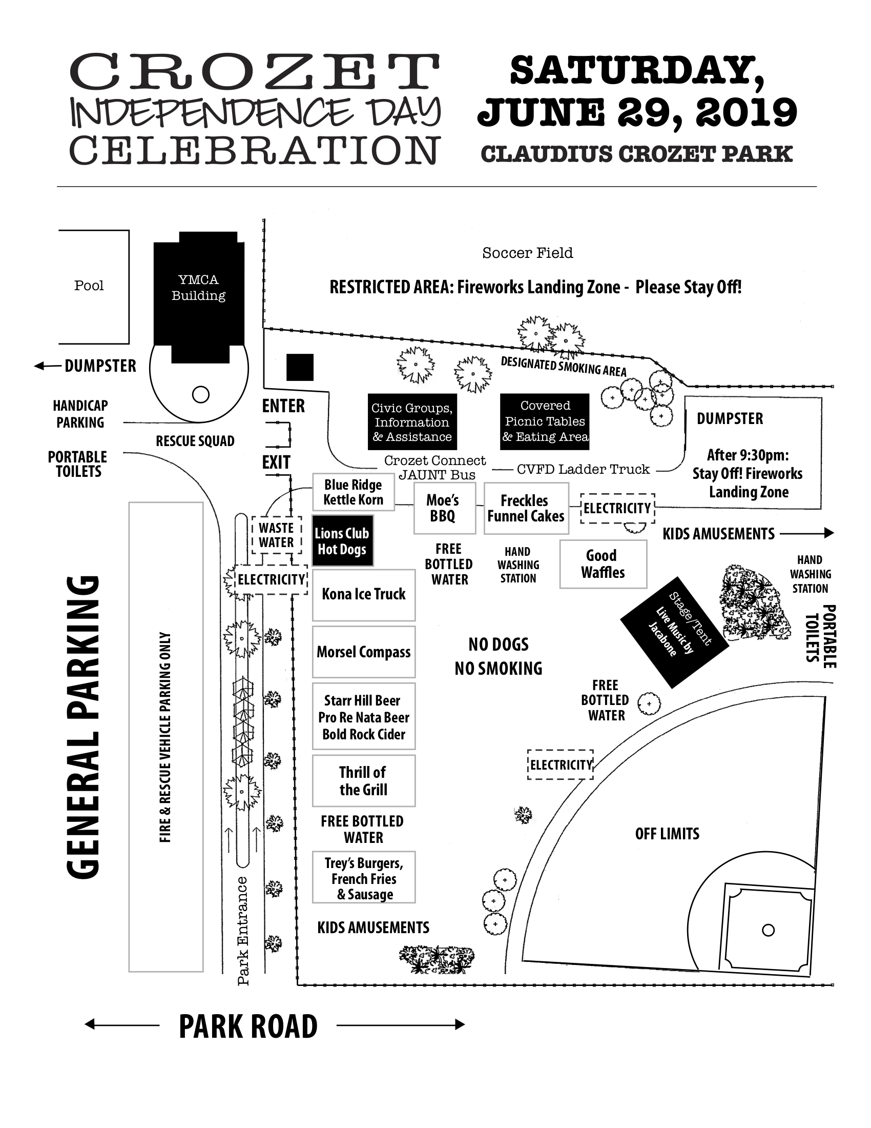 Map for the Crozet Independence Day Celebration at Crozet Park June 29, 2019