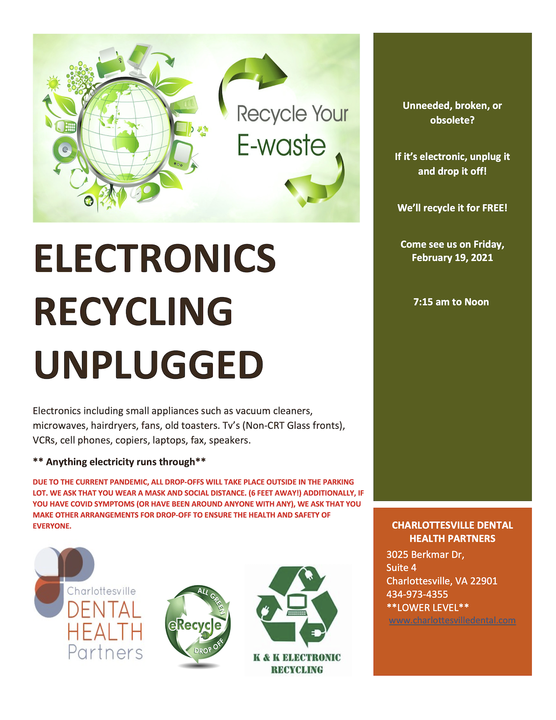 Free Electronics Recycling on Friday, February 19, 2021 from 7:15 to Noon.