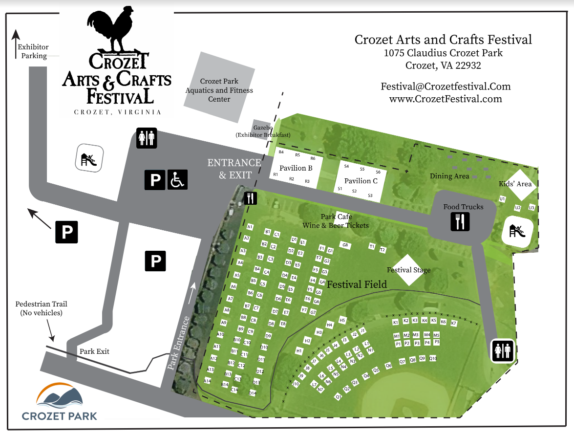 Map of artisans at the May 2021 Crozet Arts and Crafts Festival