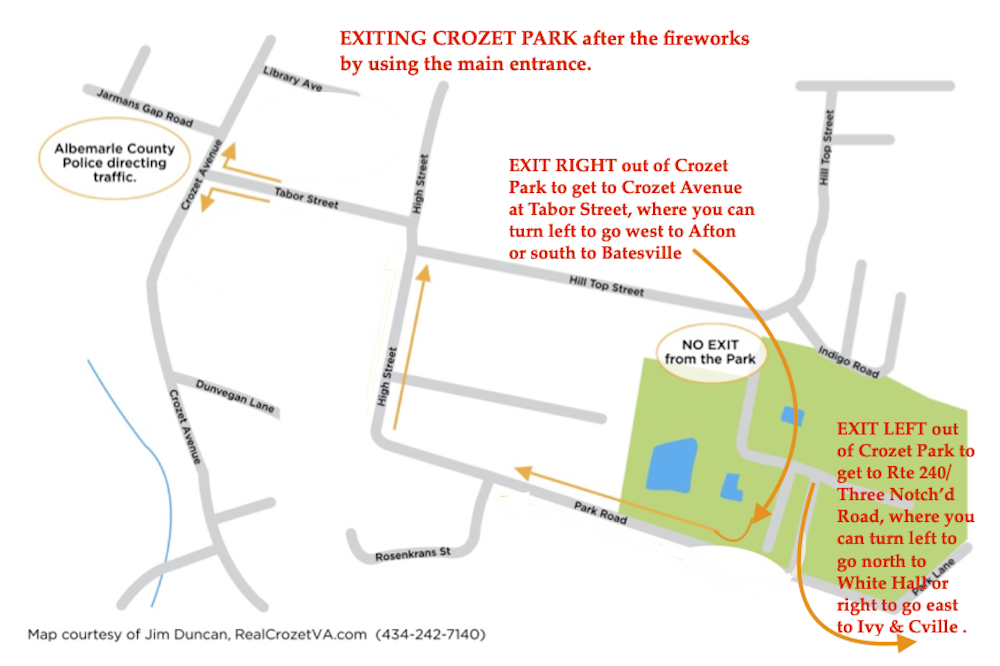 Map of how to exit Crozet Park after the fireworks.